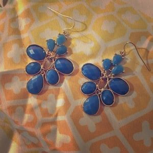 Royal Blue Gold Trim Tear Drop Dangle Earrings